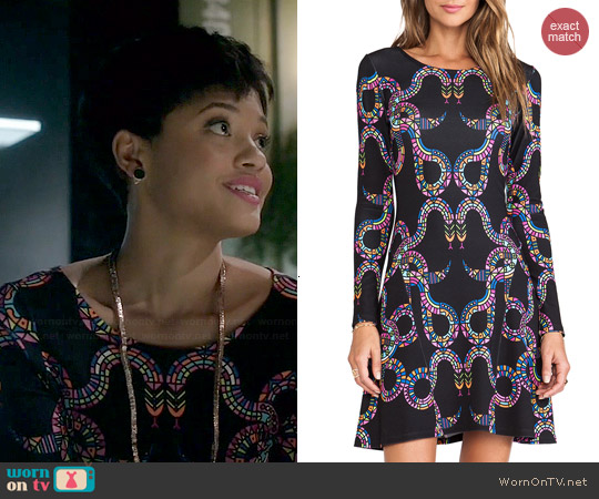 Mara Hoffman Ballerina Snakes Dress worn by Kiersey Clemons on Eye Candy