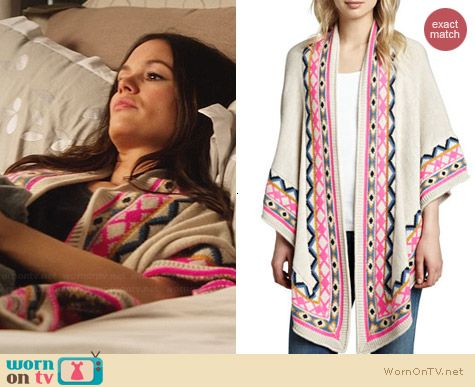 Mara Hoffman Patterned Trim Shawl worn by Rachel Bilson on Hart of Dixie