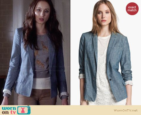 Marc by Marc Jacobs Corey Chambray Blazer worn by Troian Bellisario on PLL