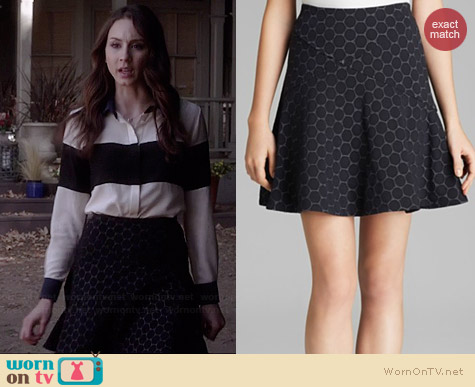 Marc by Marc Jacobs Leyna Dotty Ponte Skirt worn by Troian Bellisario on PLL