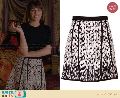 Marc by Marc Jacobs Printed Silk Skirt worn by Lea Michele on Glee