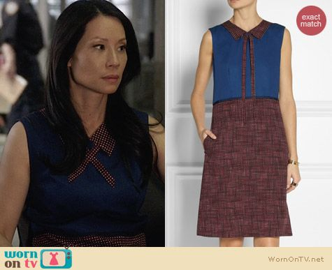 Marc by Marc Jacobs Printed Wool Twill Dress worn by Lucy Liu on Elementary