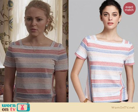 Marc by Marc Jacobs Stretch Stripe Jersey Top worn by Carrie Bradshaw on The Carrie Diaries