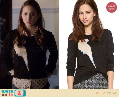 Marc by Marc Jacobs Betty Birdie Sweater worn by Troian Bellisario on PLL