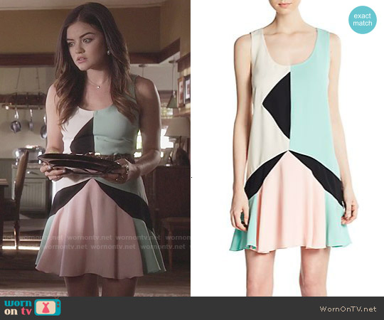 Marc by Marc Jacobs Cady Collage Dress worn by Lucy Hale on PLL