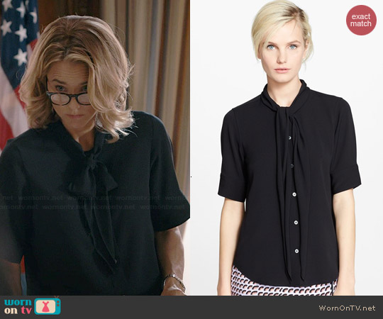 Marc Jacobs Elbow Sleeve Button Front Silk Blouse worn by Tea Leoni on Madam Secretary