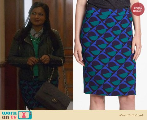 Marc by Marc Jacobs Etta Skirt worn by Mindy Kaling on The Mindy Project