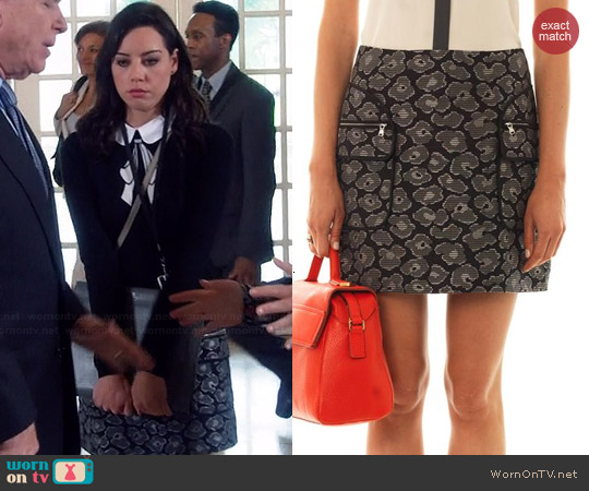 Marc by Marc Jacobs Leopard Jacquard Skirt worn by Aubrey Plaza on Parks & Rec