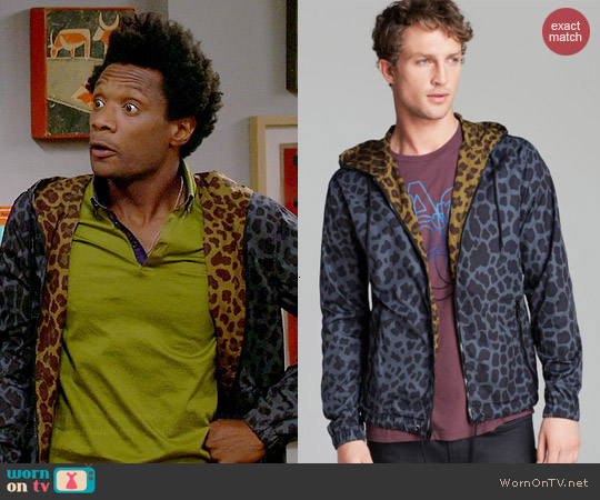 Marc by Marc Jacobs London Leopard Hooded Rain Jacket worn by Seaton Smith on Mulaney