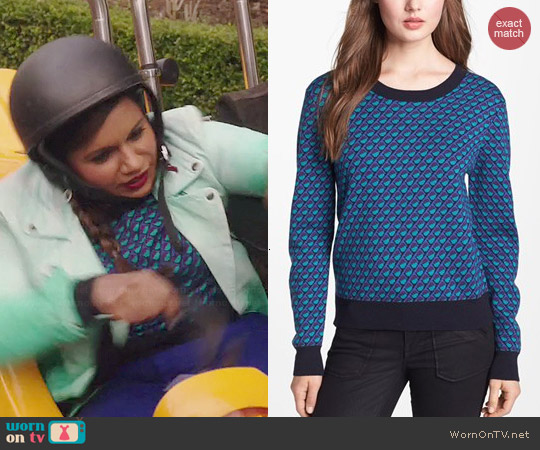Marc by Marc Jacobs Luna Jacquard Sweater worn by Mindy Kaling on The Mindy Project