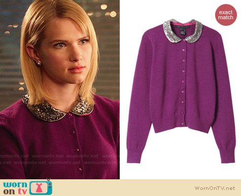 Marc by Marc Jacobs Mika Cardigan in Purple worn by Claudia Lee on Hart of Dixie