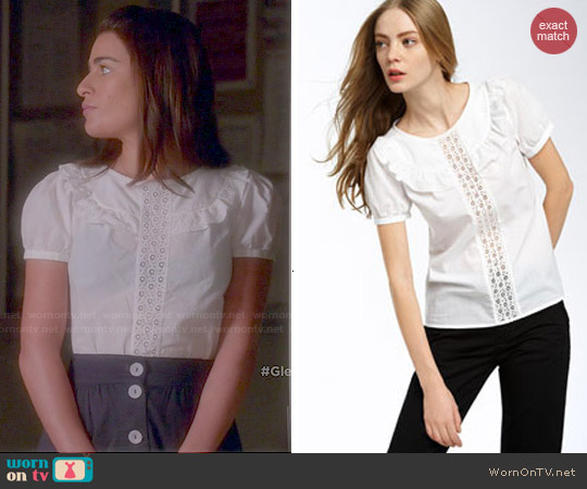 Marc by Marc Jacobs Pearl Eyelet Cotton Blouse worn by Lea Michele on Glee