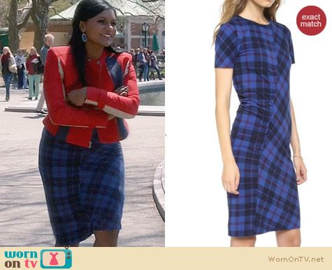 Marc by Marc Jacobs Penn Plaid Dress worn by Mindy Kaling on The Mindy Project