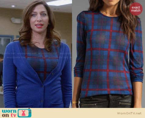 Marc by Marc Jacobs Plaid Long Sleeve Jersey Top worn by Chelsea Peretti on Brooklyn 99