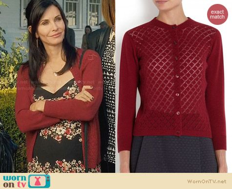 Marc Jacobs Pointelle Cardigan worn by Courtney Cox on Cougar Town