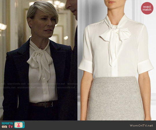 Marc Jacobs Pussy Bow Silk Crepe Blouse worn by Robin Wright on House of Cards