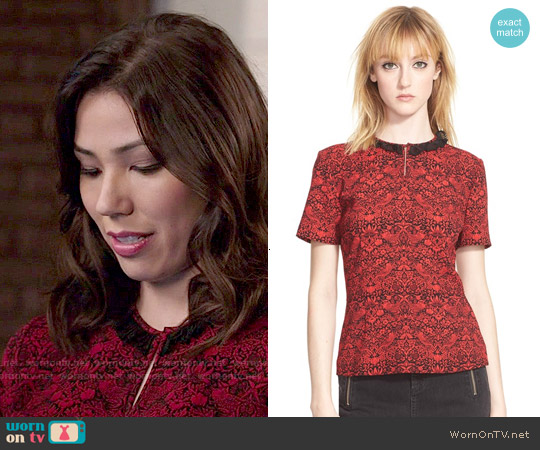 Marc by Marc Jacobs 'Strawberry Thief' Crepe Peplum Top worn by Michaela Conlin on Bones