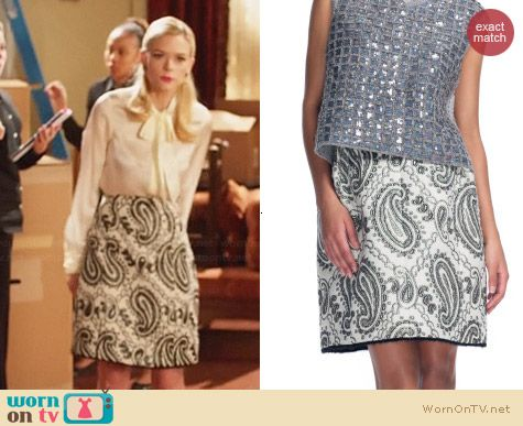 Marc Jacobs Metallic Paisley Jacquard Skirt worn by Jaime King on Hart of Dixie