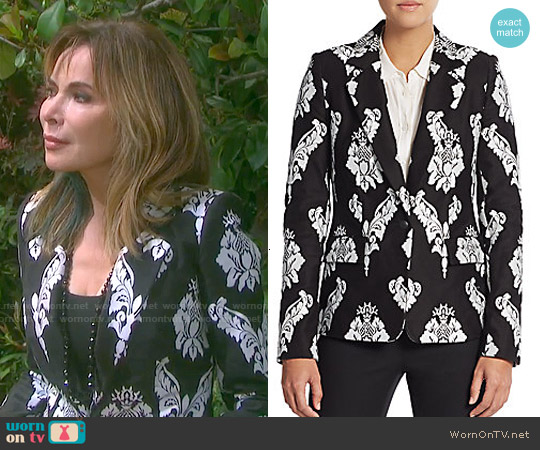 Marchesa Voyage Embroidered Cotton Blazer worn by Lauren Koslow on Days of our Lives