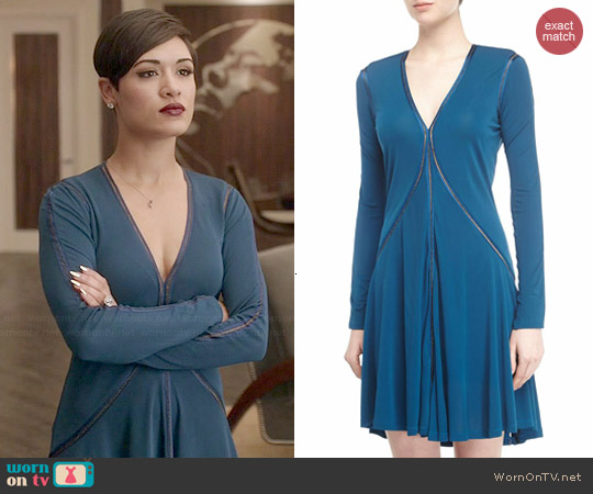 Marchesa Voyage V-Neck Metallic-Trim Long-Sleeve Dress worn by Grace Gealey on Empire