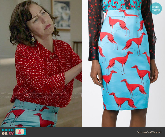 Marco Bologna Greyhound Print Pencil Skirt worn by Carol Pilbasian on Last Man On Earth