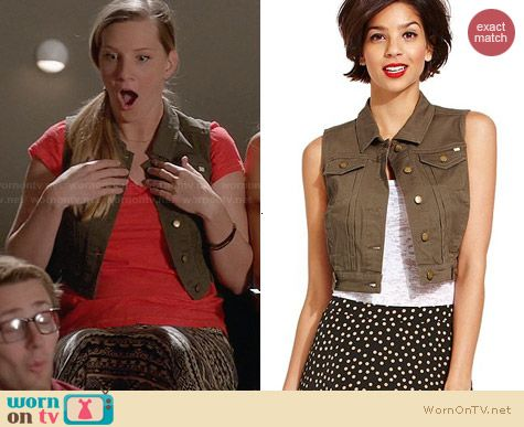Marilyn Monroe Cropped Denim Vest in Fatigue worn by Heather Morris on Glee