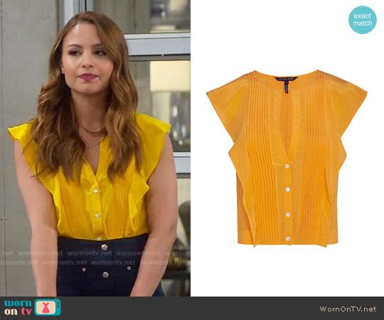 Marissa Webb Caris Crop Ruffle Blouse worn by Aimee Carrero on Young & Hungry