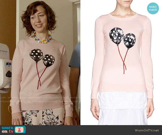 Markus Lupfer Emma Polka Dot Balloon Sweater worn by Kristen Schaal on Last Man On Earth