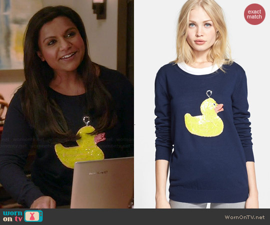 Markus Lupfer Hook A Duck Sequin Sweater worn by Mindy Kaling on The Mindy Project