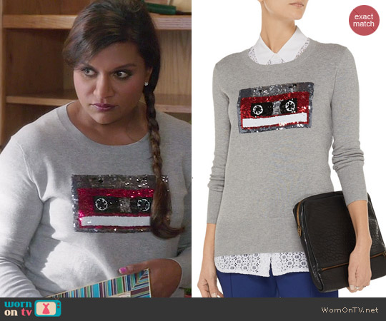 Markus Lupfer Retro Tape Embellished Sweater worn by Mindy Kaling on The Mindy Project
