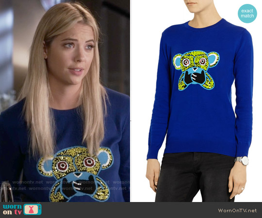 Markus Lupfer Speak No Evil Monkey Sweater worn by Ashley Benson on PLL