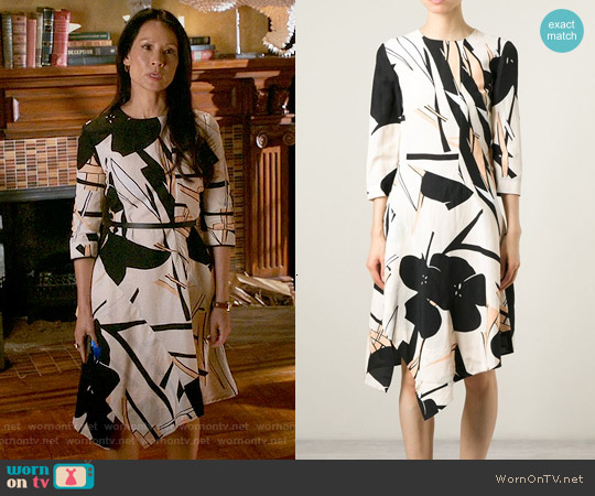 Marni Floral Print Asymmetric Dress worn by Lucy Liu on Elementary