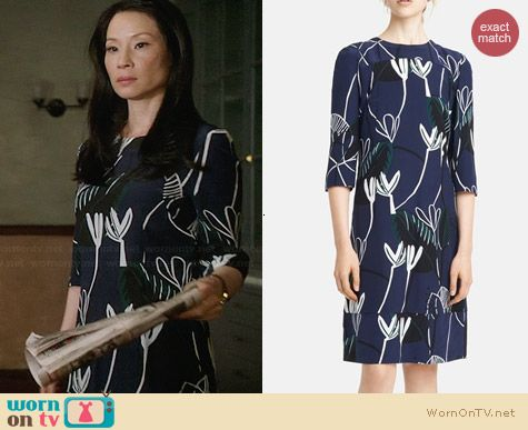 Marni Foilage Print Silk Dress worn by Lucy Liu on Elementary