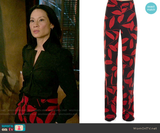 Marni Leaf Print Straight Leg Trousers worn by Lucy Liu on Elementary