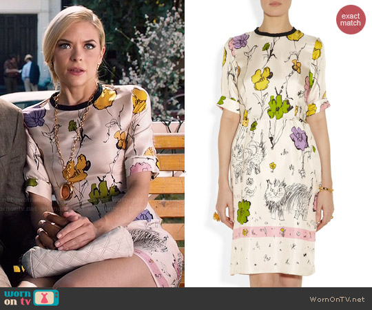Marni Scratchy Cat printed silk-twill dress worn by Jaime King on Hart of Dixie