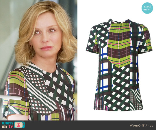 Marni Skyline Printed Top worn by Calista Flockhart on Supergirl