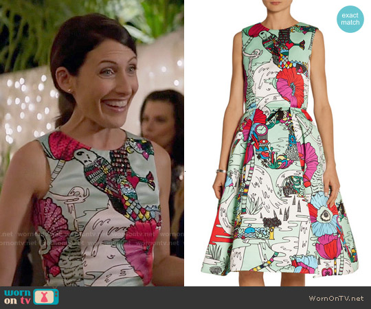 Mary Katrantzou Astere Printed Satin Dress worn by Lisa Edelstein on GG2D