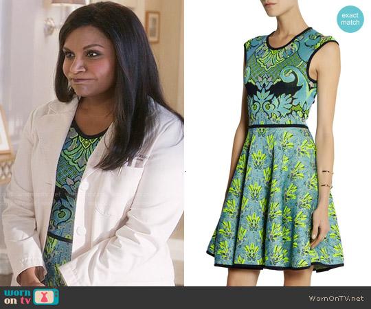 Mary Katrantzou Intarsia Knitted Dress worn by Mindy Kaling on The Mindy Project