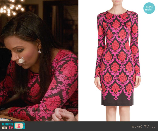 Mary Katrantzou Damask Print Silk Dress worn by Mindy Kaling on The Mindy Project