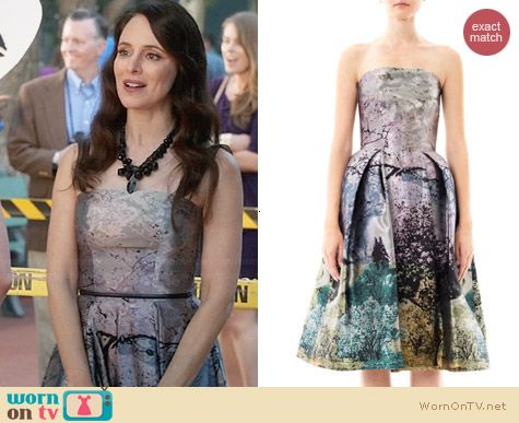 Mary Katrantzou Nevis Dijon Tree Print Dress worn by Madeleine Stowe on Revenge
