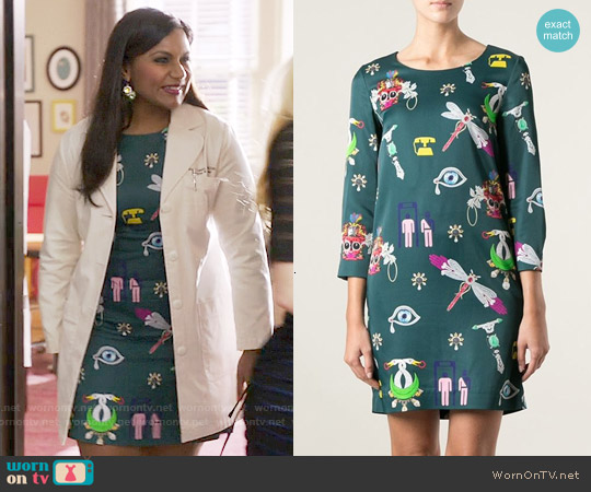 Mary Katrantzou Symbols Shift Dress worn by Mindy Kaling on The Mindy Project