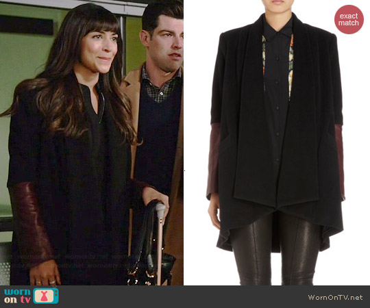 Mason by Michelle Mason Leather Cuff Jacket worn by Hannah Simone on New Girl