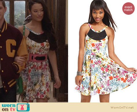Material Girl Sleeveless Floral Print Mesh A Line Dress worn by Chloe Bridges on The Carrie Diaries