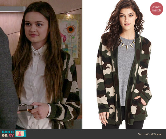 Material Girl Graphic Camo Print Cardigan worn by Ciara Bravo on Red Band Society