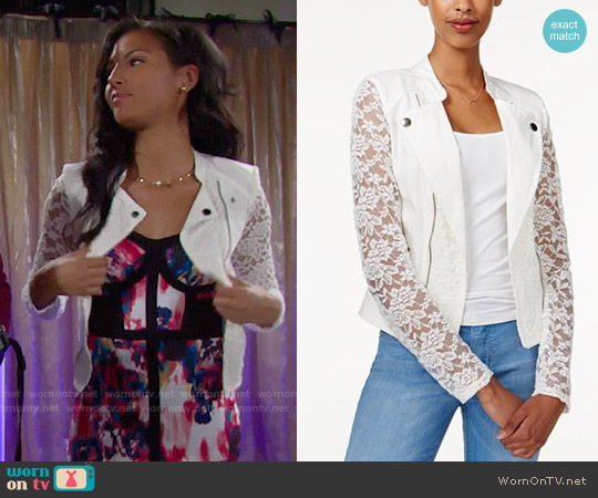 Material Girl Lace Moto Jacket worn by Sasha Avant on The Bold & the Beautiful