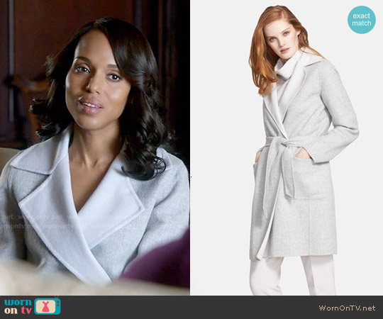 Max Mara 'Visone' Reversible Wool & Angora Wrap Coat with Belt worn by Kerry Washington on Scandal