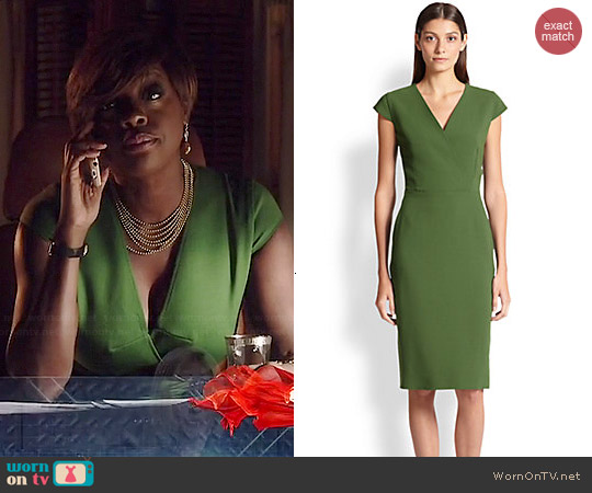 Max Mara Capale Wool Surplice Dress worn by Viola Davis on HTGAWM