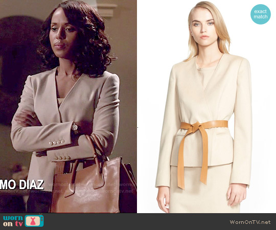 Max Mara 'Detroit' Belted Camel Hair Jacket worn by Kerry Washington on Scandal