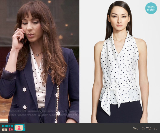 Max Mara 'Eolo' Polka Dot Silk & Jersey Blouse worn by Troian Bellisario on PLL