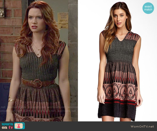 Max Studio Smocked Jacquard Dress worn by Katie Stevens on Faking It